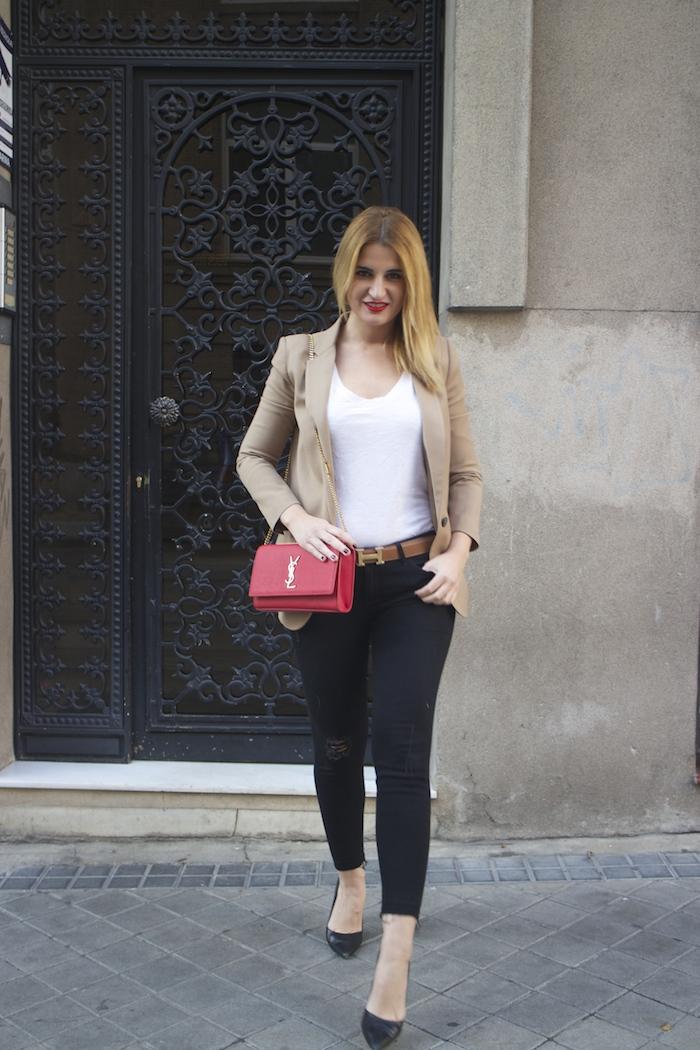 yves saint laurent bag camel blazer zara amaras la moda Paula Fraile7