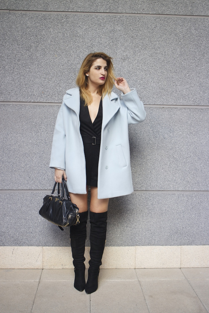 paul and joe blue coat over the knee boots amaras la moda Paula Fraile5