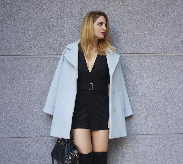 paul and joe blue coat over the knee boots amaras la moda Paula Fraile6
