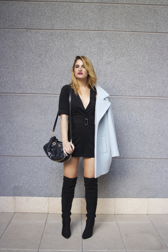 paul and joe blue coat over the knee boots amaras la moda Paula Fraile7