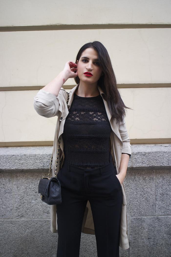 trench La Redoute chanel bag black amaras la moda paula fraile3