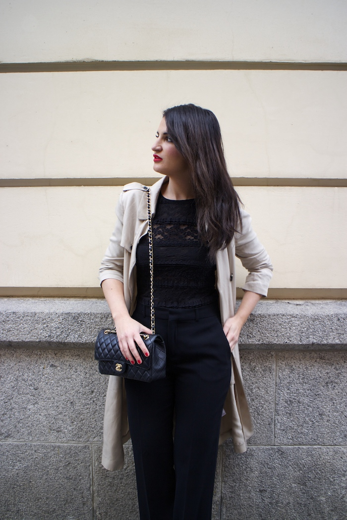 trench La Redoute chanel bag black amaras la moda paula fraile5