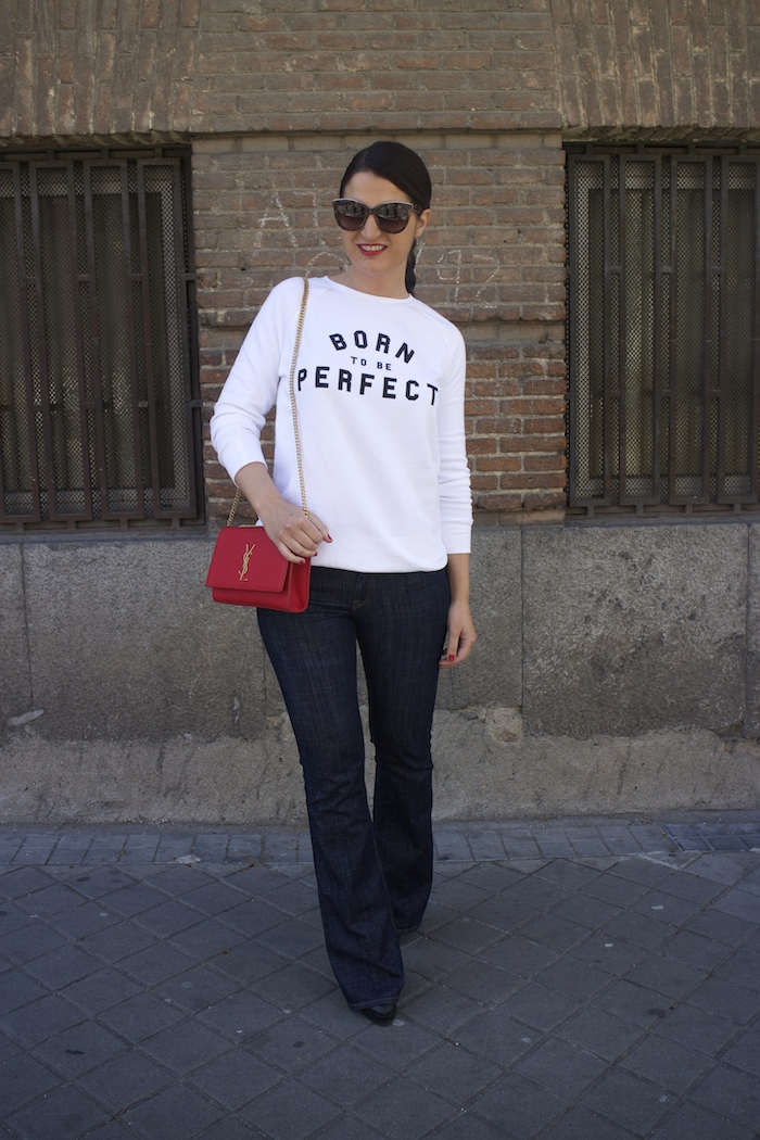 sudadera zara blanca born to be perfect amaras la moda paula fraile yves saint laurent bag 5