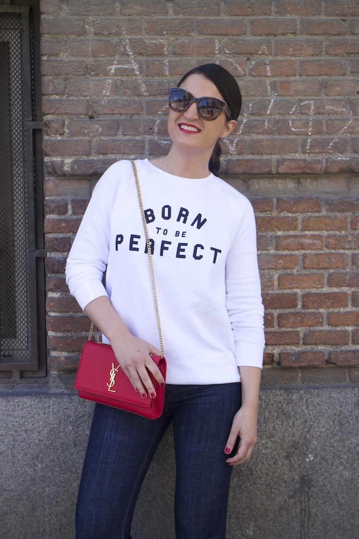 sudadera zara blanca born to be perfect amaras la moda paula fraile yves saint laurent bag.2