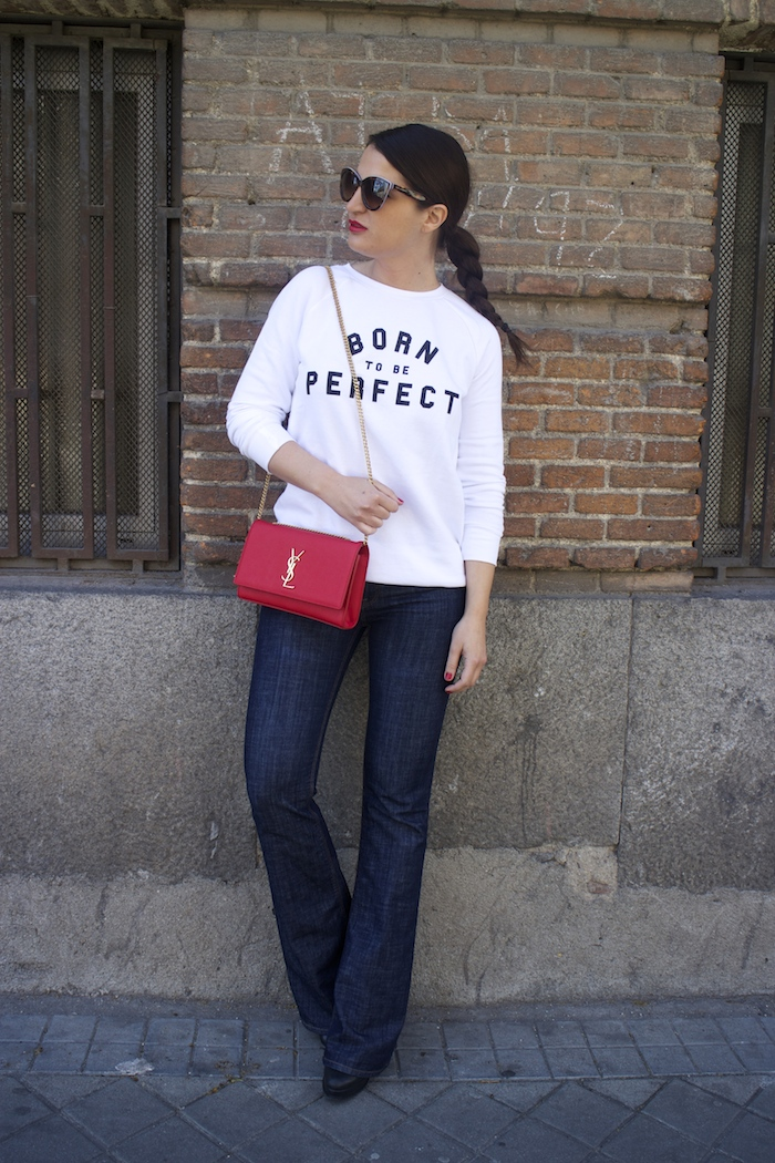 sudadera zara blanca born to be perfect amaras la moda paula fraile yves saint laurent bag.3