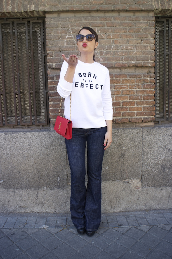 sudadera zara blanca born to be perfect amaras la moda paula fraile yves saint laurent bag.4