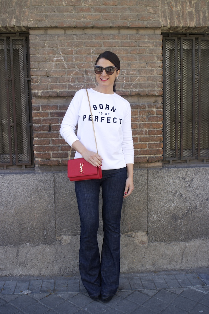 sudadera zara blanca born to be perfect amaras la moda paula fraile yves saint laurent bag
