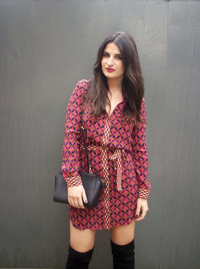 vestido Zara print psicodelia amaras la moda michael kors bag bolso paula fraile fashion blogger.3