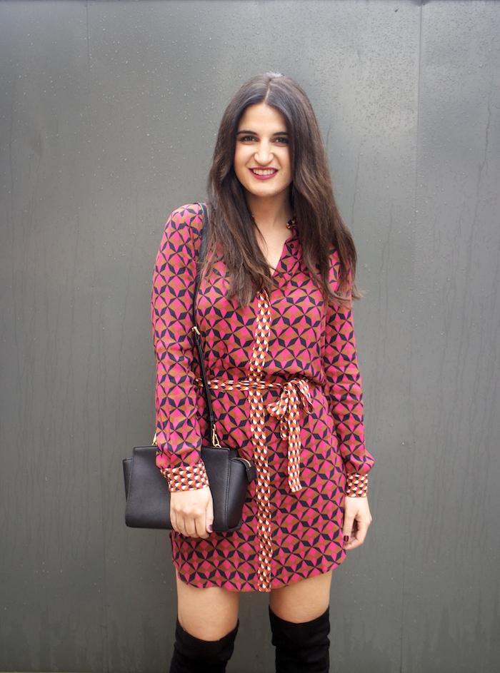 vestido Zara print psicodelia amaras la moda michael kors bag bolso paula fraile fashion blogger.5