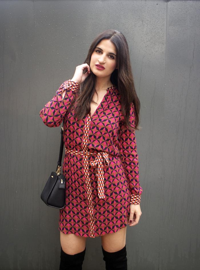 vestido Zara print psicodelia amaras la moda michael kors bag bolso paula fraile fashion blogger