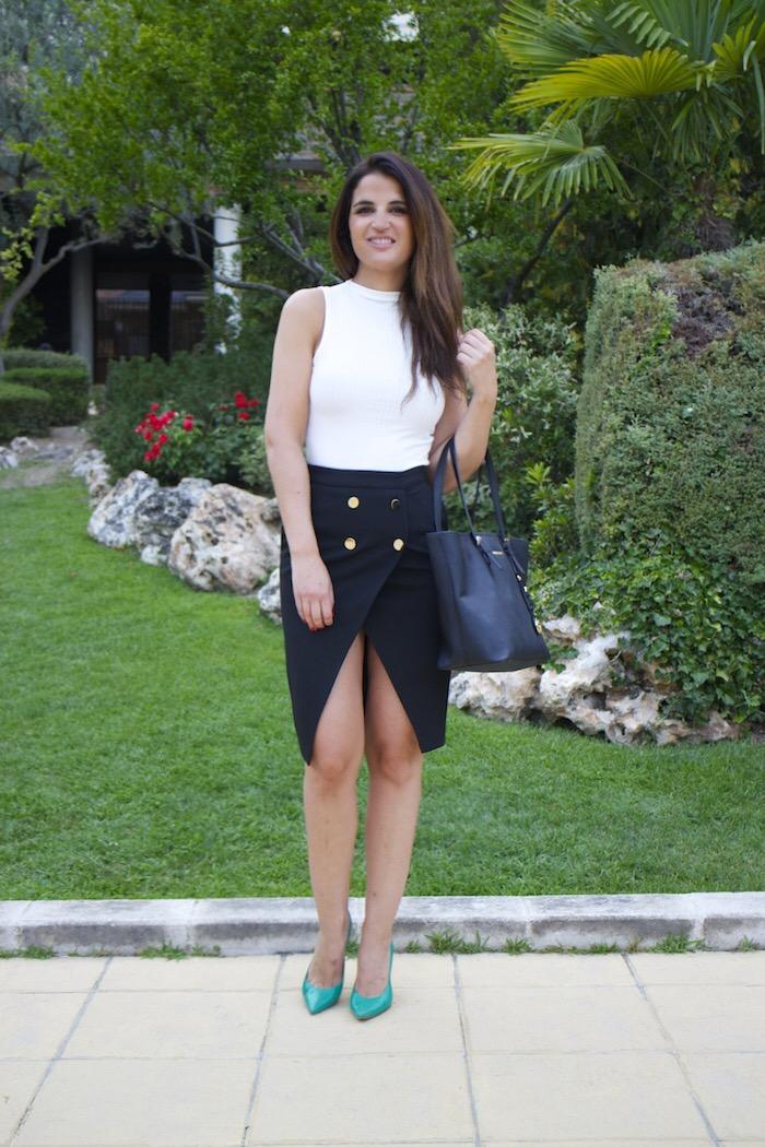 zara skirt white shirt amaras la moda paula fraile5