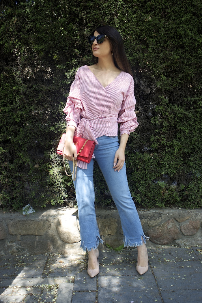 camisa jeans zara yves saint laurent bag amaras la moda paula fraile
