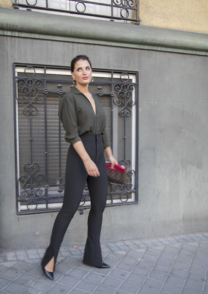 camisa verde pantalón negro louis vuitton bag amaras la moda paula fraile5