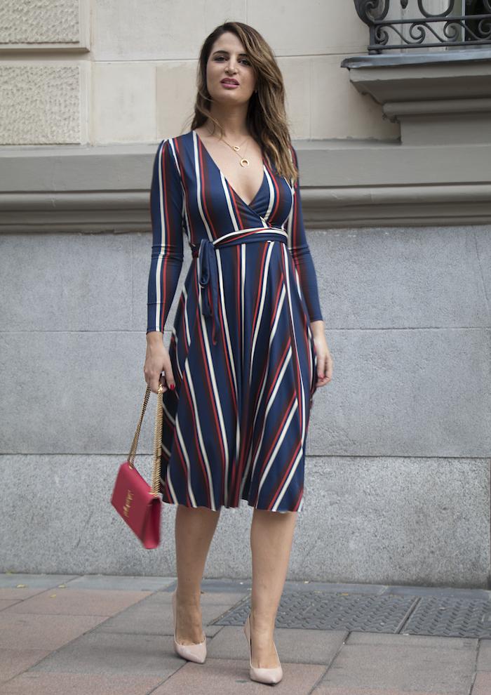 vestido rayas zara bolso Yves Saint Laurent uterque stilettos amaras la moda paula fraile.4