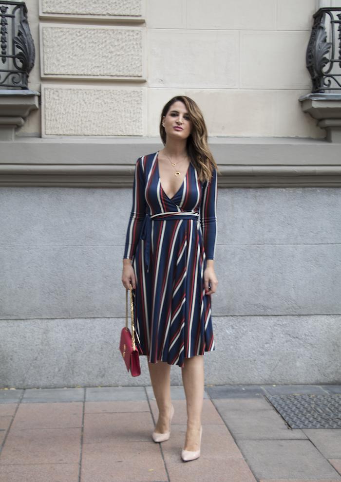 vestido rayas zara bolso Yves Saint Laurent uterque stilettos amaras la moda paula fraile.6