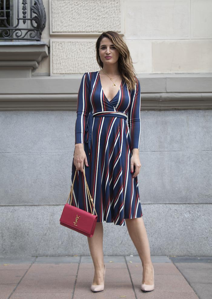 vestido rayas zara bolso Yves Saint Laurent uterque stilettos amaras la moda paula fraile7